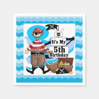Ahoy Matey Pirate 5th Birthday Paper Napkins
