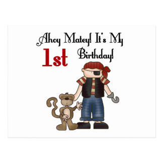 Ahoy Pirate First Birthday Tshirts and Gifts Postcard