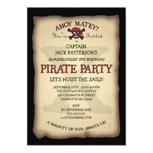 Birthday invitations announcements zazzle ahoy treasure map pirate birthday party invitation stopboris Image collections