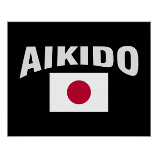 Aikido Japan Japanese Flag Poster