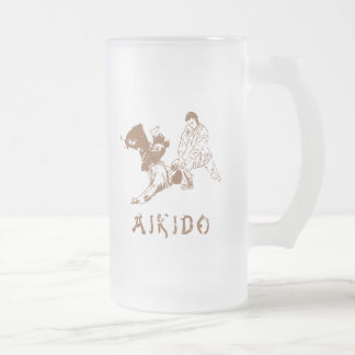 Aikido Throw Frosted Glass Beer Mug
