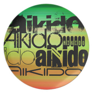 Aikido; Vibrant Green, Orange, & Yellow Party Plate