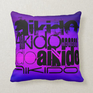 Aikido; Vibrant Violet Blue and Magenta Throw Pillow
