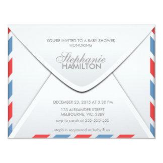 Air mail envelope baby shower 11 cm x 14 cm invitation card