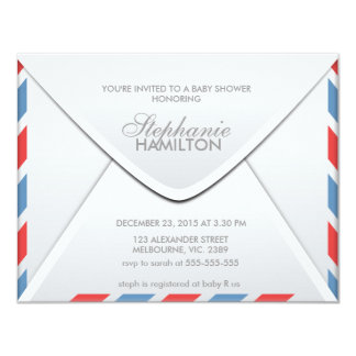 Air mail envelope baby shower personalized invite