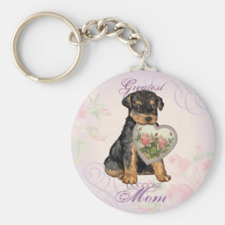 Airedale Heart Mom Basic Round Button Key Ring
