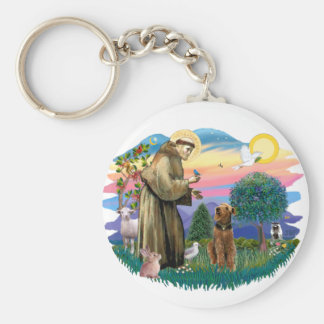 Airedale (looking up) key ring