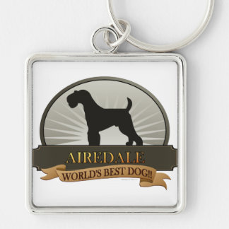 Airedale Silver-Colored Square Key Ring