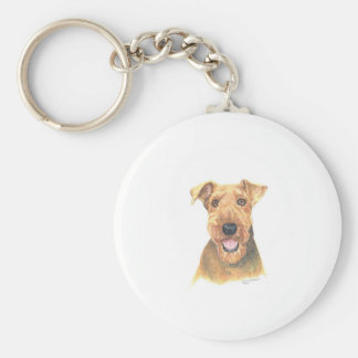 Airedale Terrier Art Basic Round Button Key Ring