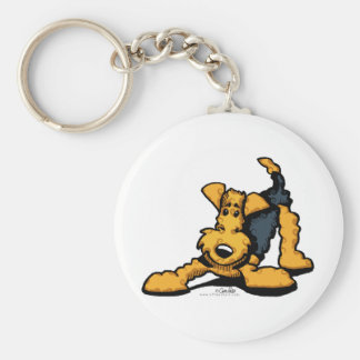 Airedale Terrier at Play Basic Round Button Key Ring