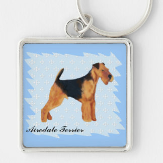 Airedale Terrier ~ Blue w/ White Diamonds Design Key Ring