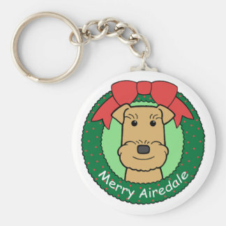 Airedale Terrier Christmas Key Ring