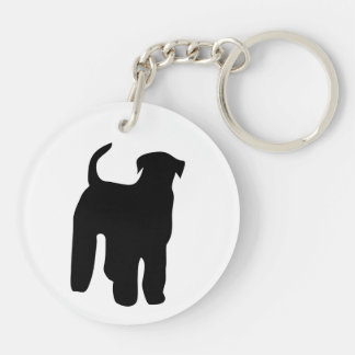Airedale Terrier dog black silhouette, gift Key Ring