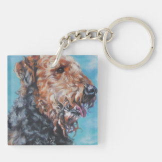 Airedale Terrier fine art dog painting Key Ring