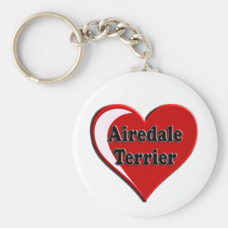 Airedale Terrier Heart Key Ring