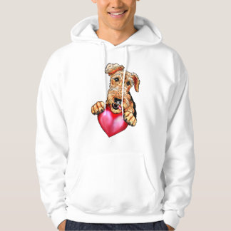 Airedale Terrier Holding Heart Hoodie