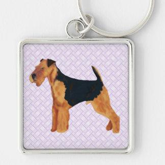 Airedale Terrier Lavendar Weave Key Ring
