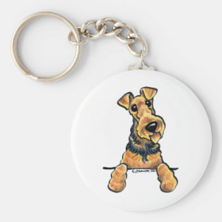 Airedale Terrier Line Art Basic Round Button Key Ring