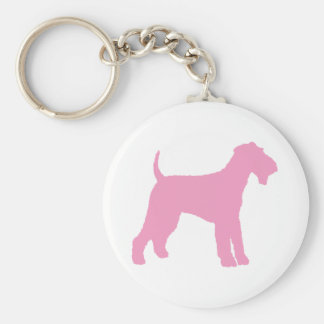 Airedale Terrier (pink) Basic Round Button Key Ring