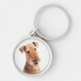 Airedale Terrier Puppy Dog Premium Silver Keychain