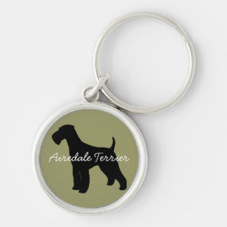 Airedale Terrier Silver-Colored Round Key Ring