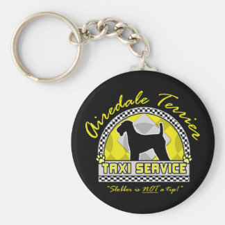 Airedale Terrier Taxi Service Basic Round Button Key Ring