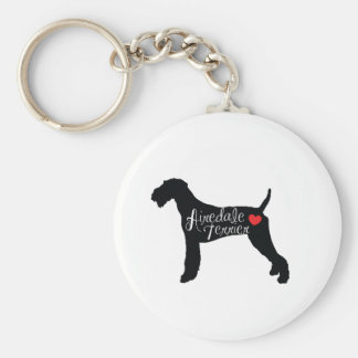 Airedale Terrier with Heart Dog Breed Love Basic Round Button Key Ring