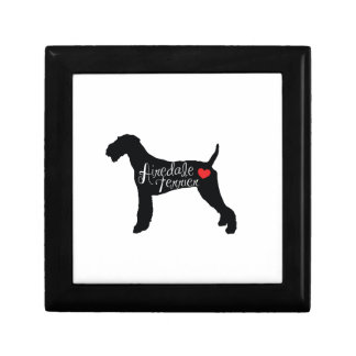 Airedale Terrier with Heart Dog Breed Love Gift Box