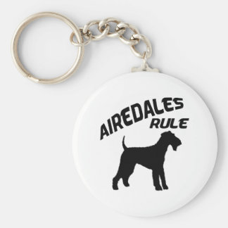 Airedales Rule Basic Round Button Key Ring