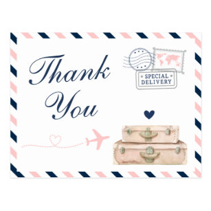 Airplane Airline Travel Wedding Shower Thank You Postcard