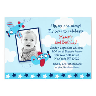 Airplane Aviator Boy Photo Birthday Invitations