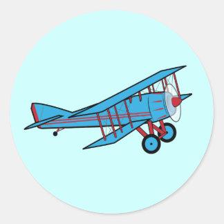 Airplane: Biplane Classic Round Sticker