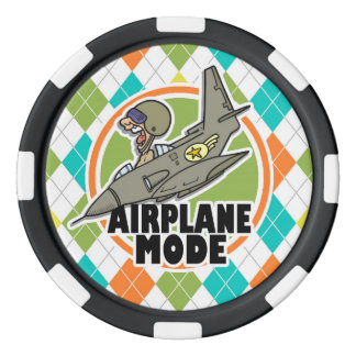 Airplane Mode; Colorful Argyle Pattern Poker Chips