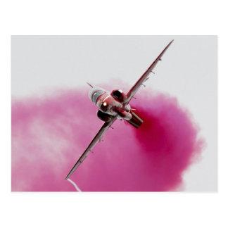 airplane pink smoke on postcard