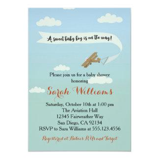 Airplane Transportation Baby Shower Invitaiton 13 Cm X 18 Cm Invitation Card