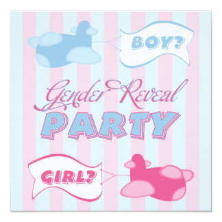 Airplanes and Banners Gender Reveal Party 13 Cm X 13 Cm Square Invitation Card