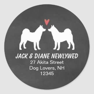 Akita Dog Silhouettes Return Address Classic Round Sticker