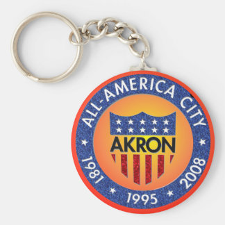 Akron All America City Keychain. Basic Round Button Key Ring