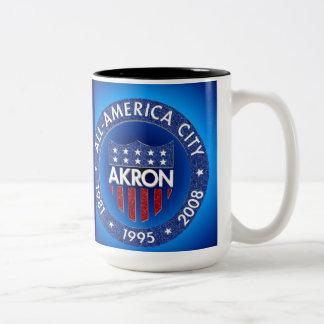 Akron All America City Mug. Two-Tone Coffee Mug