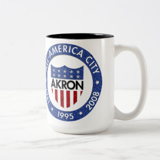 Akron All America City Mug. Two-Tone Coffee Mug