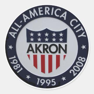 Akron All American City Sticker. Round Sticker