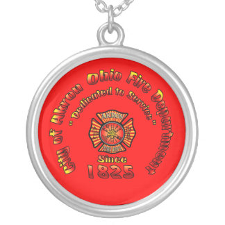 Akron Ohio Fire Department Necklace. Silver Plated Necklace