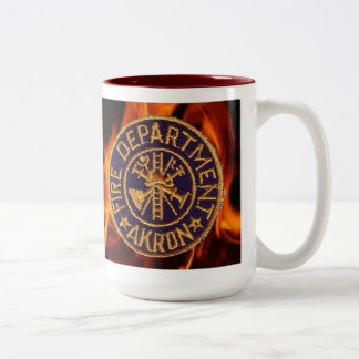 Akron Ohio Fire Department Two-Tone Coffee Mug
