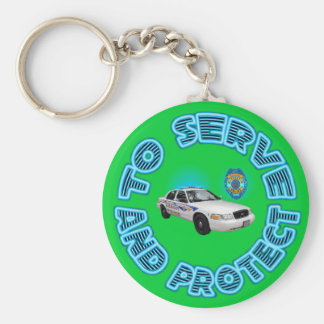 Akron Ohio Police Department Keychain. Basic Round Button Key Ring