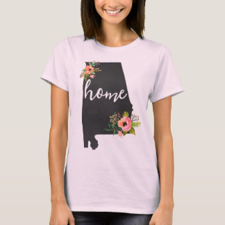 Alabama Home Chalkboard Watercolor Flowers State T-Shirt