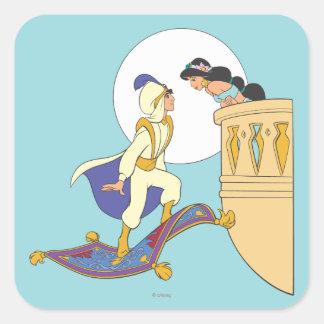 Aladdin and Jasmine Square Sticker