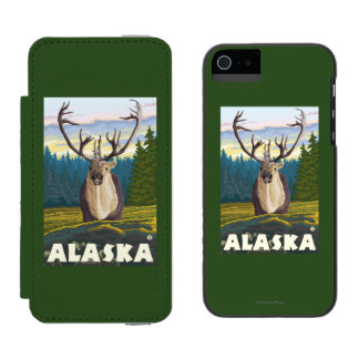 AlaskaCaribou in the Wild Vintage Travel Incipio Watson™ iPhone 5 Wallet Case