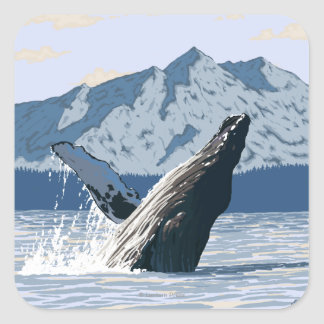 AlaskaHumpback Whale Vintage Travel Poster Square Sticker