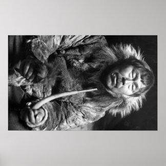 Alaskan Eskimo Smoking Pipe Photograph Poster