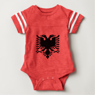Albanian Flag Double Headed Eagle On Red Fabric Baby Bodysuit